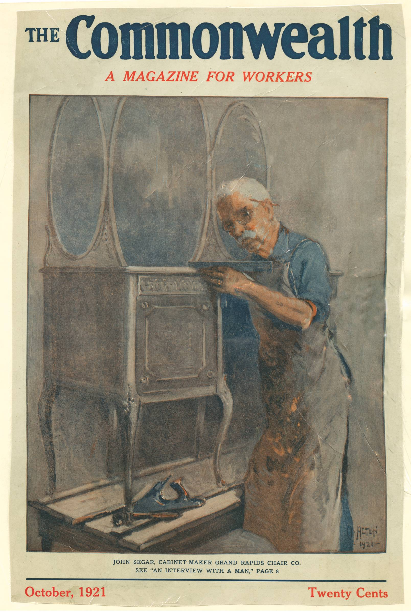 Magazine cover of Commonwealth published in October, 1921 depicting a workman making a vanity desk.